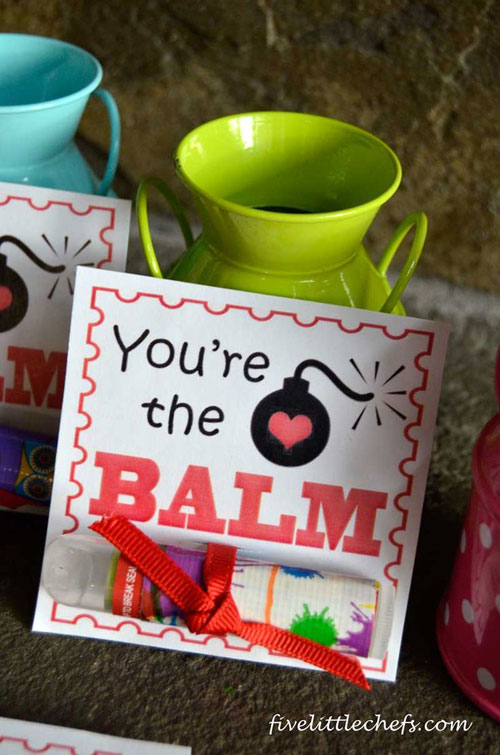 40+ Cute Valentine Ideas for Kids - You're The Balm Valentine's Card