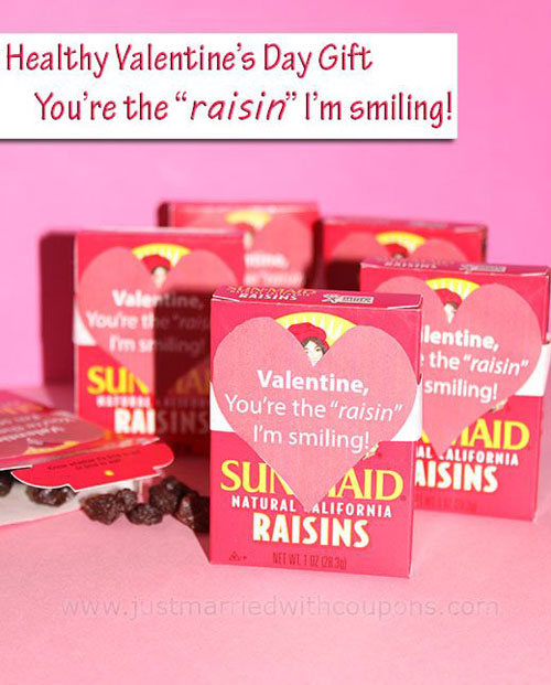 40+ Cute Valentine Ideas for Kids - You're The Raisin Valentines Gift Tags