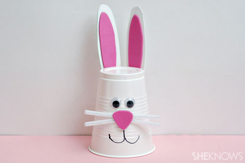 40+ Simple Easter Crafts for Kids - Bunny Cup Craft