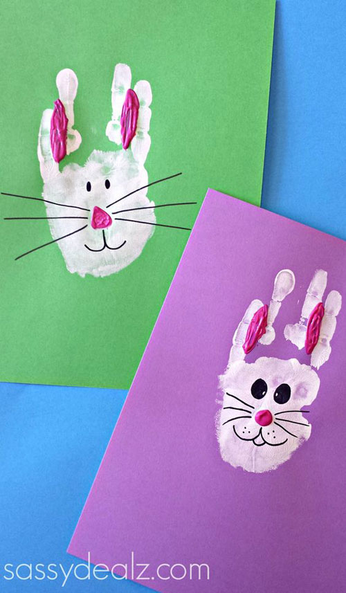 40 Simple Easter Crafts For Kids Bunny Rabbit Handprint Craft