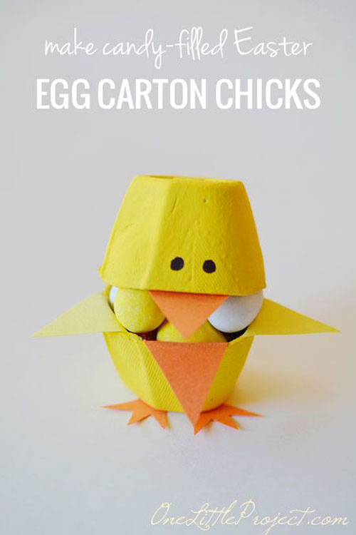 40+ Simple Easter Crafts for Kids - Candy Filled Easter Egg Carton Chicks
