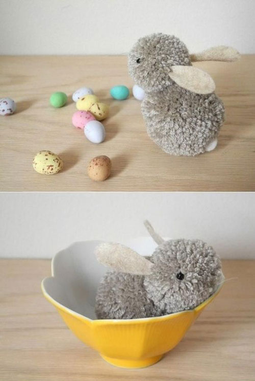 40+ Simple Easter Crafts for Kids - DIY Pom Pom Bunny