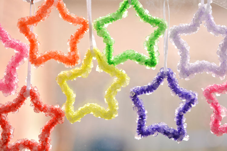 Borax crystal ornaments hanging in window