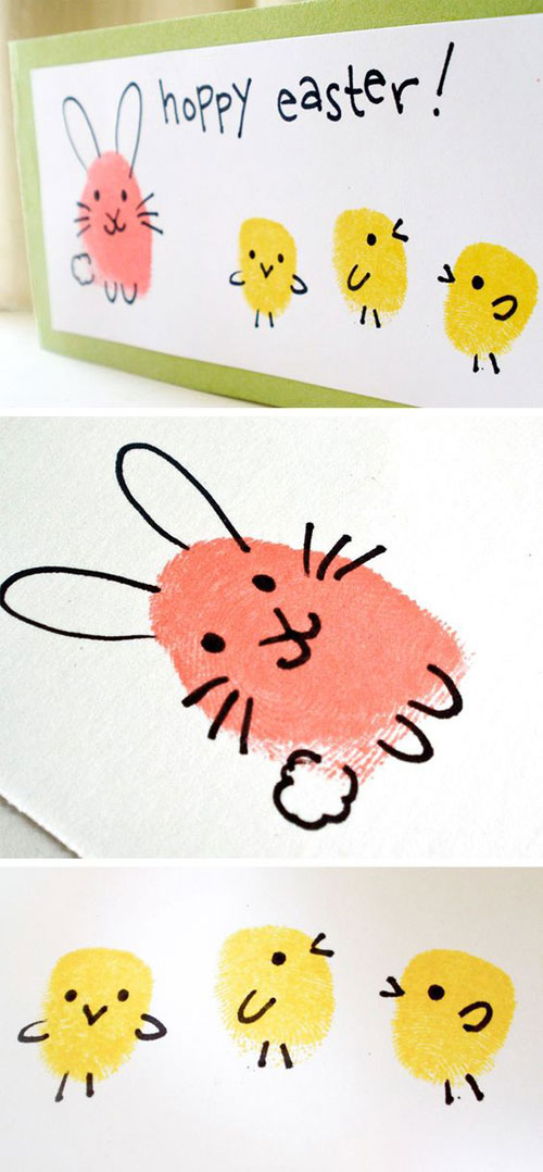 40+ Simple Easter Crafts for Kids - Easter Bunny and Chick Fingerprint Craft