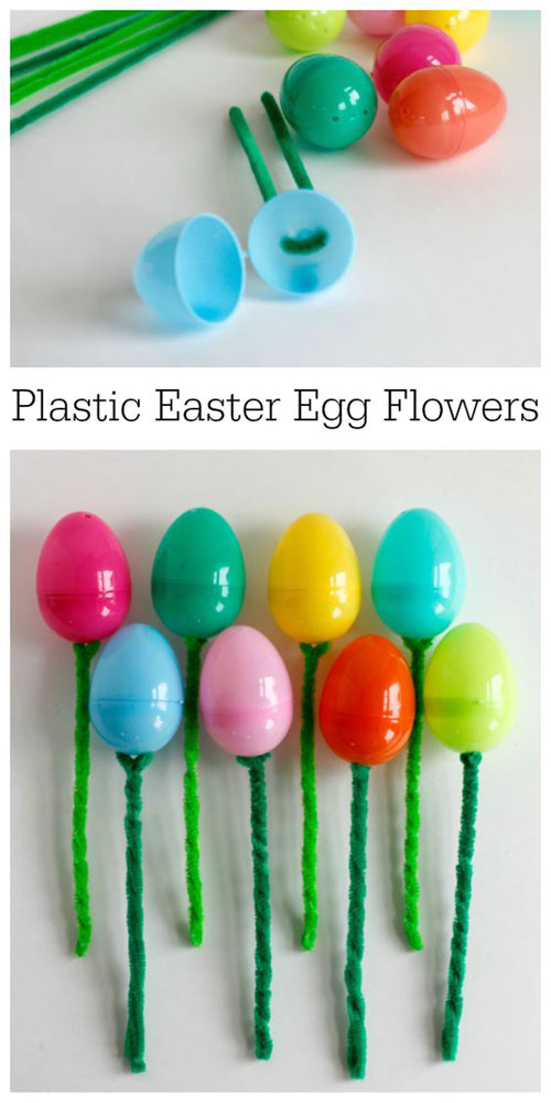 40+ Simple Easter Crafts for Kids - Easter Egg Flower Bouquet
