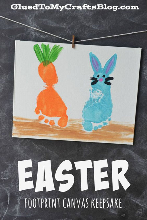 40+ Simple Easter Crafts for Kids - Easter Footprint Canvas Keepsake