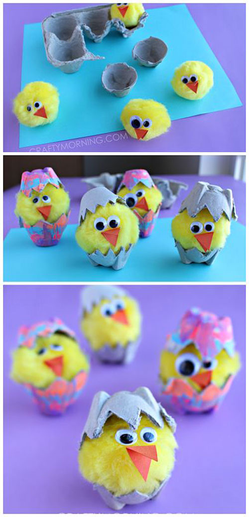 40+ Simple Easter Crafts for Kids - Egg Carton Hatching Chicks