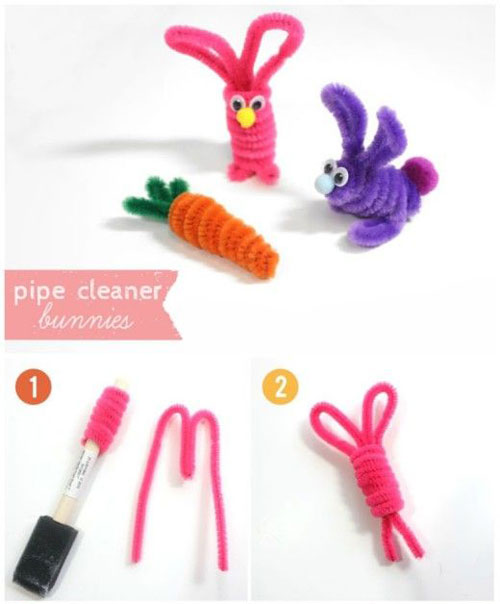 40+ Simple Easter Crafts for Kids - Pipe Cleaner Bunnies