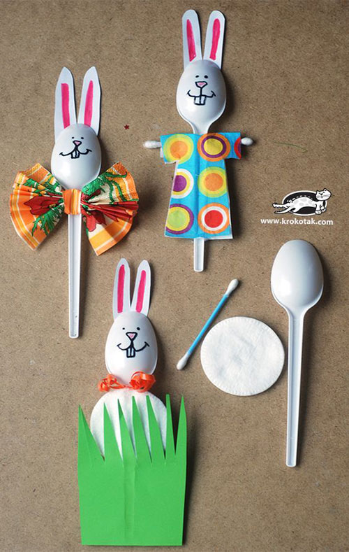40+ Simple Easter Crafts for Kids - Plastic Spoons Spring Ideas