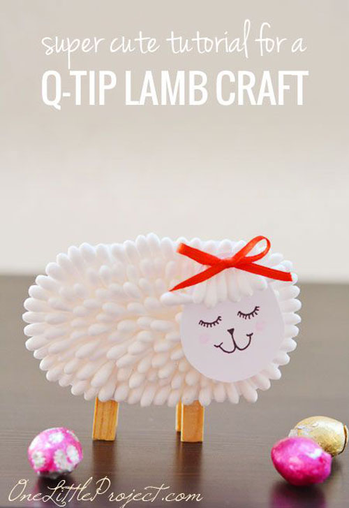 40 Simple Easter Crafts For Kids Q Tip Lamb Craft