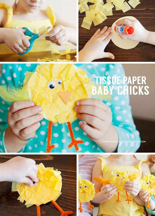 40+ Simple Easter Crafts for Kids - Tissue Paper Baby Chicks