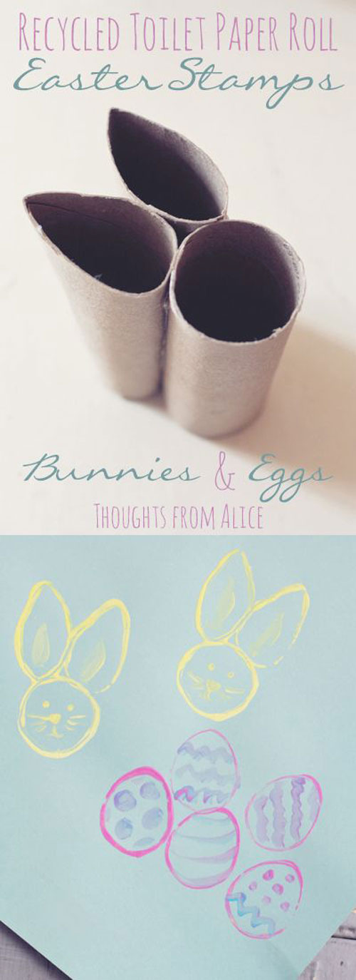 40+ Simple Easter Crafts for Kids - Tissue Paper Roll Easter Bunny and Egg Stamps