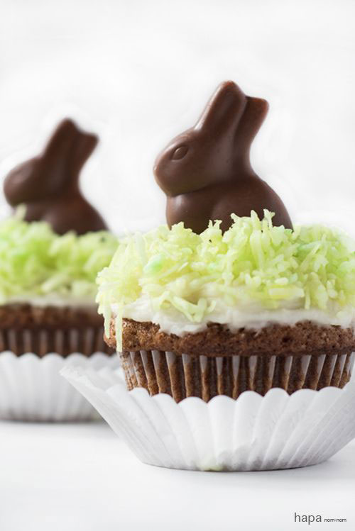 35 Adorable Easter Cupcake Ideas - Chocolate Bunny Cupcakes