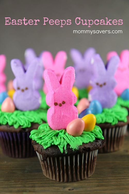 35 Adorable Easter Cupcake Ideas - Easter Bunny Peeps Cupcake