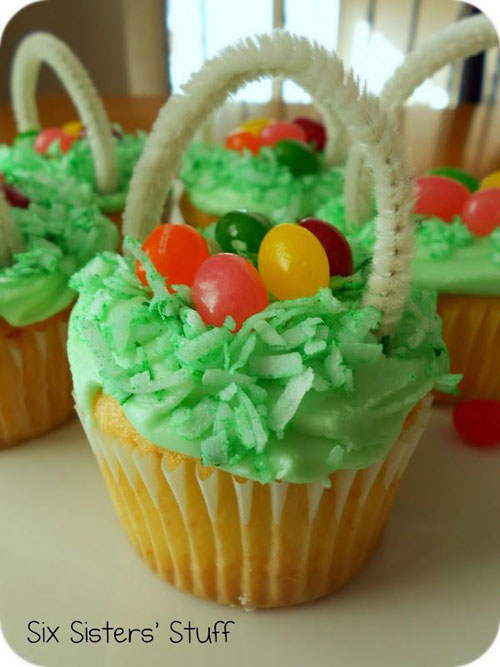 35 Adorable Easter Cupcake Ideas - Easter Egg Basket Cupcakes