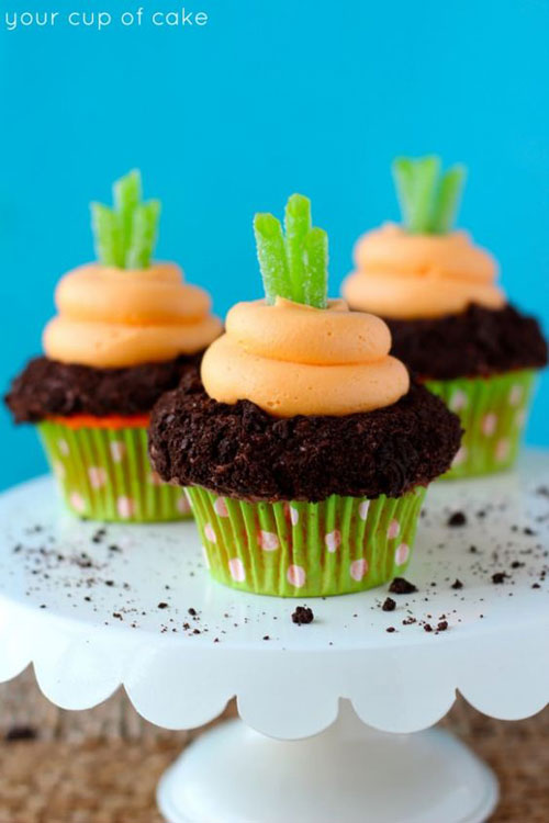35 Adorable Easter Cupcake Ideas - Garden Carrot Cupcakes