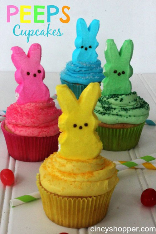 35 Adorable Easter Cupcake Ideas - Peeps Cupcakes