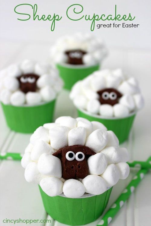 35 Adorable Easter Cupcake Ideas - Sheep Easter Cupcakes