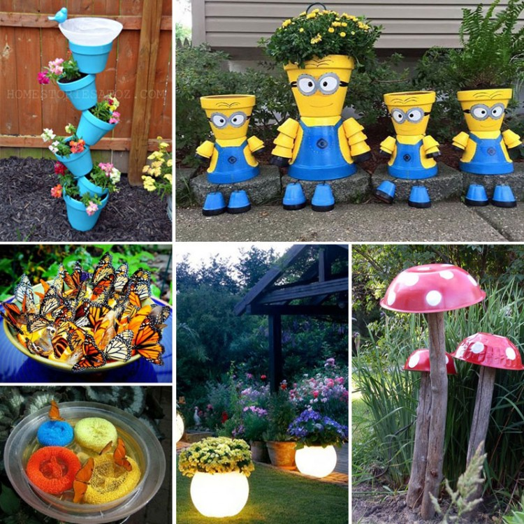 These crafts for the garden are SO FUN! From glow in the dark planters to DIY butterfly feeders, there are so many awesome craft ideas for the backyard!