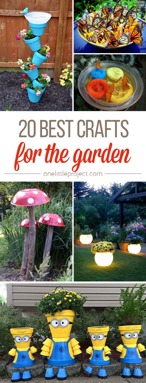 20 best crafts for the garden one little project for Fun garden decoration ideas