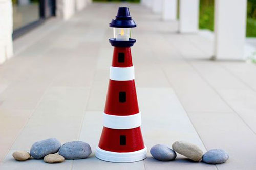 20 Best DIY Garden Crafts - Clay Pot Lighthouse