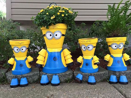 20 Best DIY Garden Crafts - DIY Clay Pot Minions