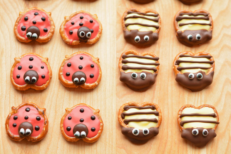 These pretzel ladybugs and bumblebees make an ADORABLE spring treat! They are easy to put together and are perfect for a spring birthday or class party!!