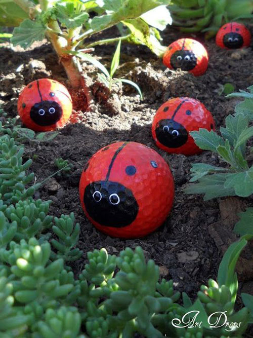 20 Best DIY Garden Crafts - Ladybug Golf Ball