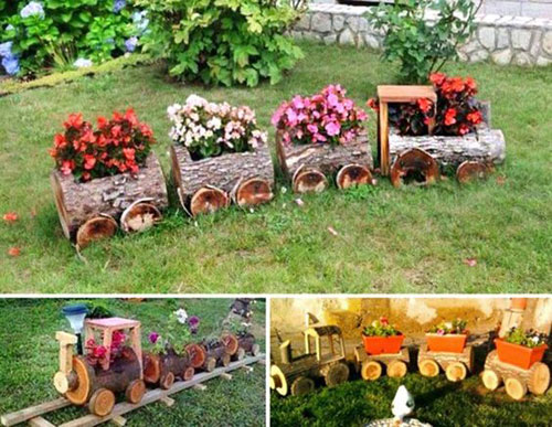 20 Best DIY Garden Crafts - Log Train Flower Pots