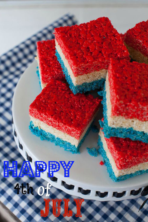 50+ Best 4th of July Desserts - 4th of July Rice Krispie Treats