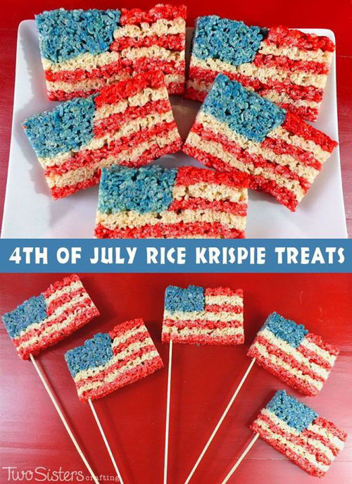 50+ Best 4th of July Desserts - American Flag Rice Krispie Treats