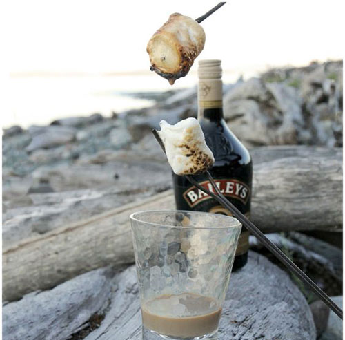 30+ Best Campfire Desserts - Bailey's Dipped Toasted Marshmallows