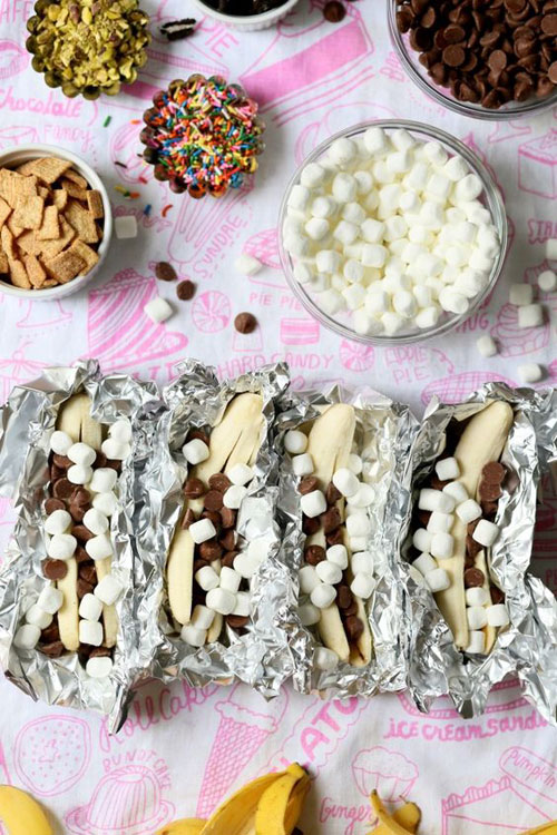 30+ Best Campfire Desserts - Campfire Baked Bananas