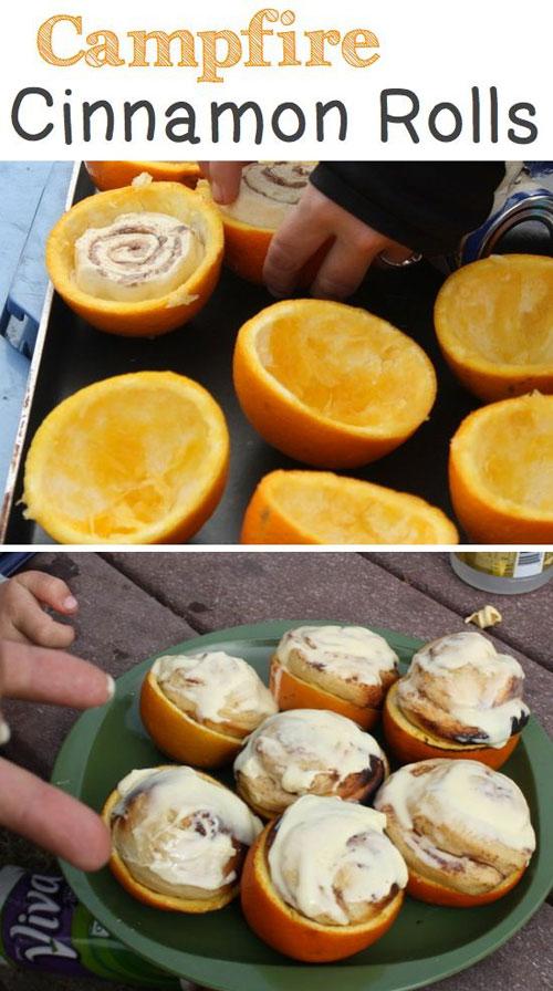 30+ Best Campfire Desserts - Campfire Cinnamon Orange Rolls