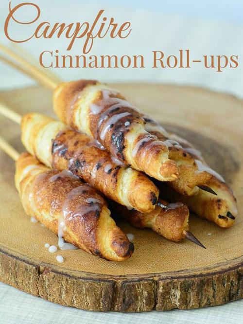 30+ Best Campfire Desserts - Campfire Cinnamon Roll-ups