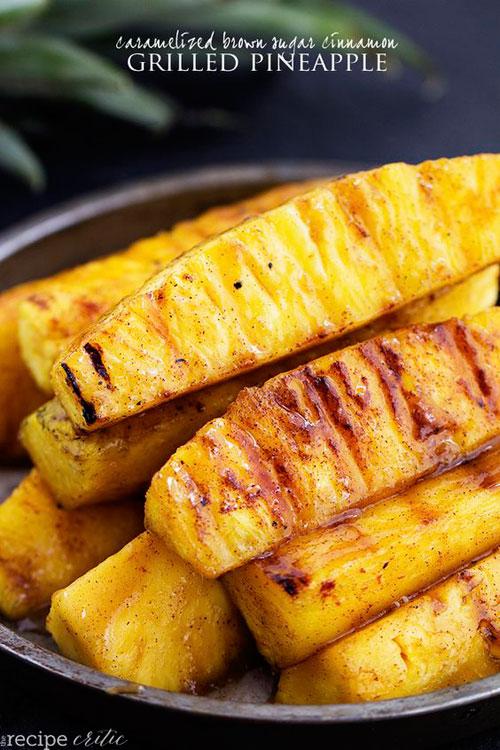 30+ Best Campfire Desserts - Caramelized Brown Sugar Cinnamon Grilled Pineapple