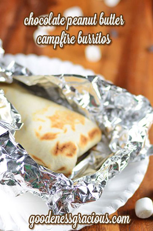 30+ Best Campfire Desserts - Chocolate Peanut Butter Campfire Burritos