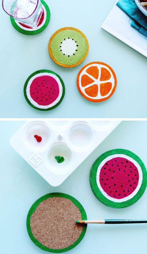 37 Awesome DIY Summer Projects - DIY Fruit Coasters