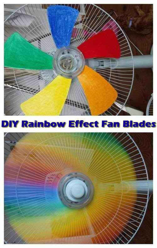 37 Awesome DIY Summer Projects - DIY Rainbow Effect Fan Blades