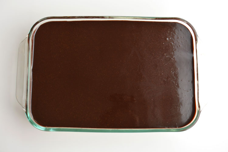 Top of chocolate eclair dessert showing chocolate glaze