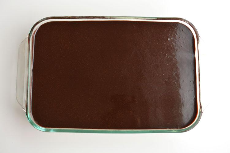 Top of chocolate eclair dessert showing chocolate glaze