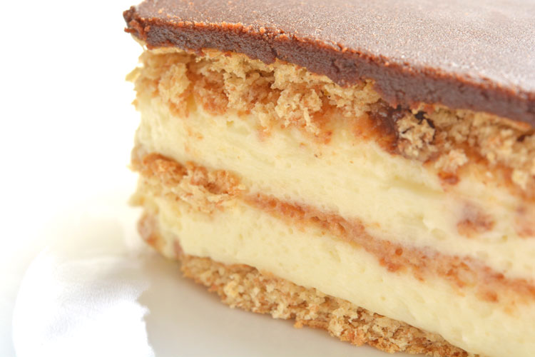 Close up of layers in eclair dessert
