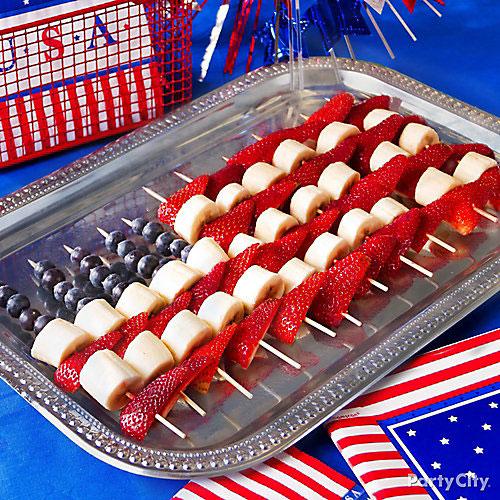50+ Best 4th of July Desserts - Flag Fruit Skewers