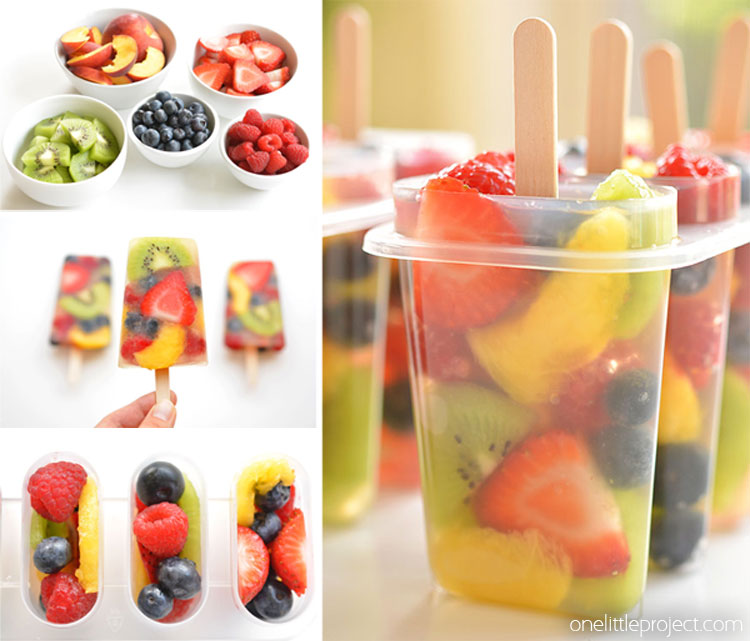 Real fruit popsicles collage