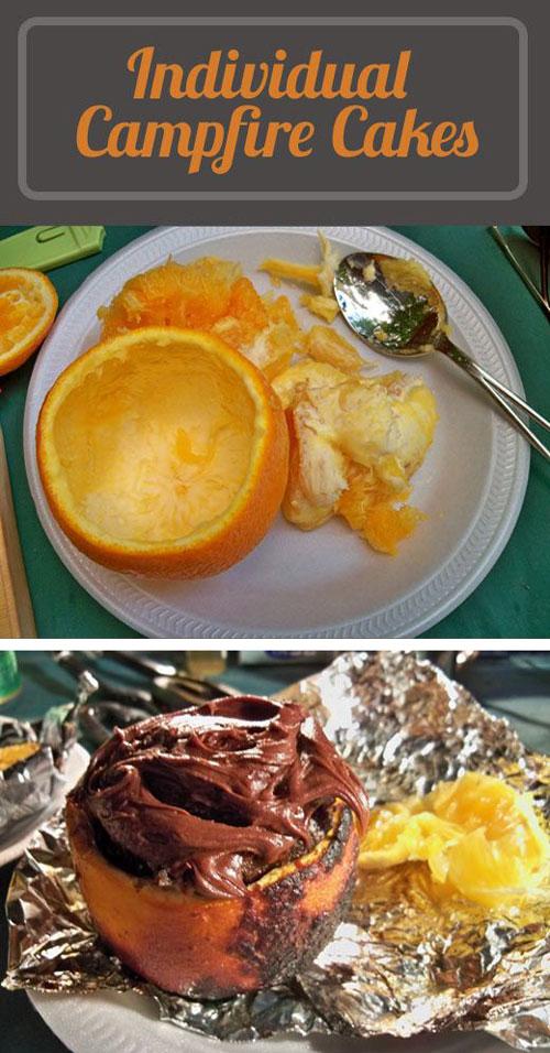 30+ Best Campfire Desserts - Individual Orange Campfire Cakes