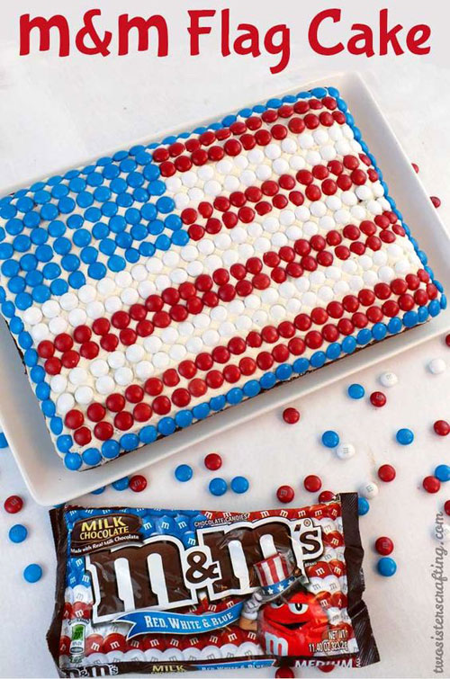 50+ Best 4th of July Desserts - M&M's Flag Cake