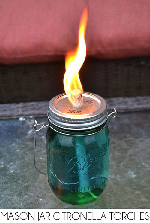 37 Awesome DIY Summer Projects - Mason Jar Citronella Torches