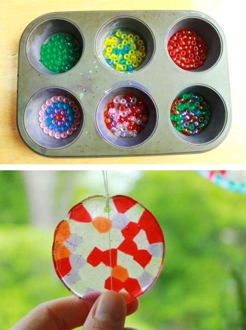 37 Awesome DIY Summer Projects - Melted Bead Suncatchers