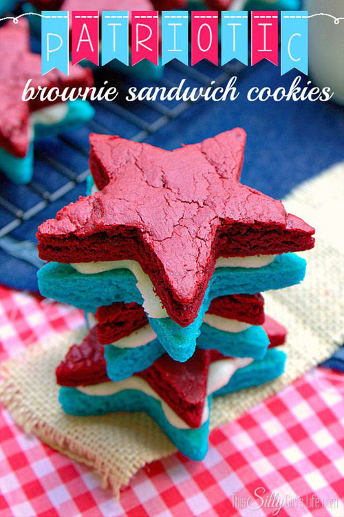 50+ Best 4th of July Desserts - Patriotic Brownie Sandwich Cookies