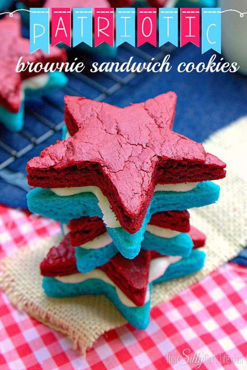 50+ Best 4th of July Desserts - Patriotic Brownie Sandwich Cookies